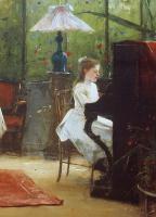Михай Либ Мункачи. Интерьер с девочкой за фортепиано. Фрагмент. Музицирующая девочка