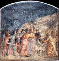 Фра Беато Анджелико. Взятие Христа под стражу и поцелуй Иуды. Фреска монастыря Сан Марко, Флоренция
