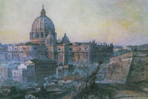 Pavel Dmitrievich Korin. St. Peter's Cathedral in Rome