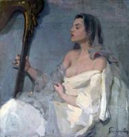 Иван Горюшкин-Сорокопудов. Арфистка. 34.6x33.1
