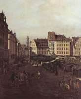 Джованни Антонио Каналь (Каналетто). Вид Дрездена, Старый рынок со стороны Морского переулка, фрагмент
