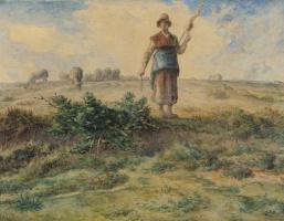 Jean-François Millet. Shepherdess and herd