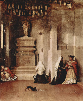 Лоренцо Лотто. Алтарь св. Лючии, пределла. Молитва св. Лючии и Прощание св. Лючии