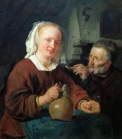 Габриель Метсю. Женщина с кувшином и мужчина с трубкой