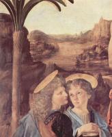Леонардо да Винчи. Крещение, деталь: Ангел