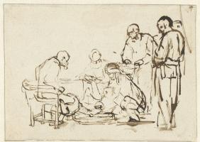 Рембрандт Харменс ван Рейн. Христос моет ноги ученикам