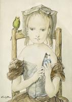 Цугухару Фудзита (Леонар Фужита). Девушка с попугаями