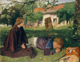 Arthur Hughes. House by the Sea (At the grave of the mother)