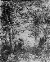 Камиль Коро. Малый всадник под деревьями