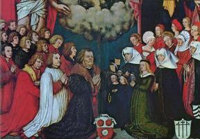 Ганс  Старший Хольбейн. Портрет Ульриха Шварца с семьей, фрагмент