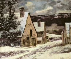 Gustave Courbet. The edge of the village in winter