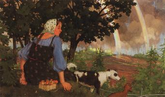 Константин Андреевич Сомов. Девушка с грибами под радугой