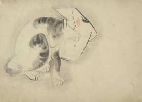 Utagawa Hiroshige. Playing cat with his head covered. Sketch for engraving