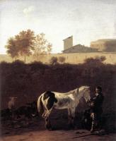 Карел Дюжарден. Итальянский пейзаж с пастухом и пегим конем