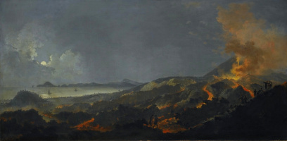 Pierre-Jacques Woller. Night landscape with volcanic eruption.