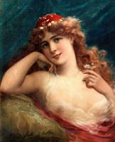 Эмиль Вернон. Молодая женщина с ромашками.