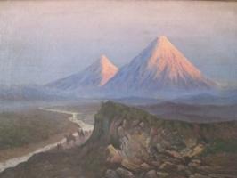 """""""Арарат на закате и всадники  вдоль реки"""""""