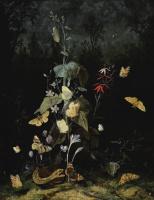 Отто Марсеус ван Скрик. Натюрморт с дикими цветами, включающими цикламен, крокус, дельфиниум, со змеей и бабочками