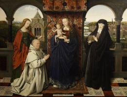 Ян ван Эйк. Мадонна с Младенцем, святыми и донатором