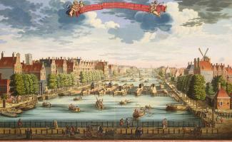 Даниель Стопендаль. Вид Амстердама с мостом через реку Амстель