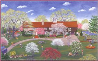 Энн Митчелл. Цветущие деревья у дома