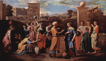 Nicola Poussin. Rebekah at the well with Eliezer, who came to Woo her for Isaac