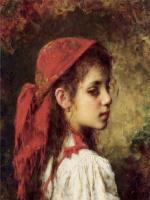 Алексей Алексеевич Харламов. Портрет молодой девушки в красном платке