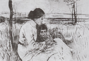 Children of the artist. Olga and Anton Serovy.