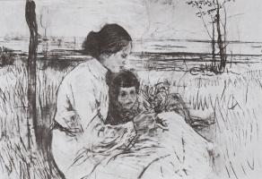 Валентин Александрович Серов. Дети художника. Ольга и Антоша Серовы.