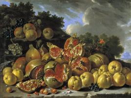 Луис Мелендес. Натюрморт с гранатами и яблоками на фоне пейзажа