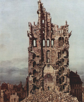 Giovanni Antonio Canal (Canaletto). East view of the ruins of the Church of the exaltation of the Holy cross in Dresden, a fragment of