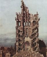 Джованни Антонио Каналь (Каналетто). Восточный вид на руины церкви Воздвижения св. Креста в Дрездене, фрагмент