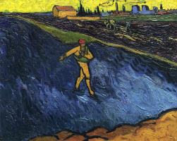 Vincent van Gogh. The sower, with views of the surroundings of Arles