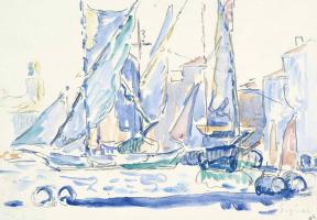 Saint Tropez, tartans in the port. 1905