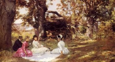 Юлий Леблан Стюарт. Пикник под деревьями