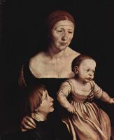 Ганс Гольбейн Младший. Портрет жены художника Эльсбет Бинзеншток со старшими детьми Филиппом и Катариной