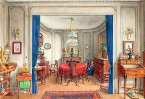 Александр Борисович Серебряков. Интерьер столовой в квартире Александра Попова в Париже.1945