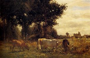 Констант Труайон. Коровы на лугу