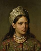Фирс Сергеевич Журавлев. Портрет девушки в русском костюме