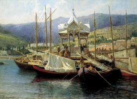 Григорий Григорьевич Мясоедов. Пристань в Ялте