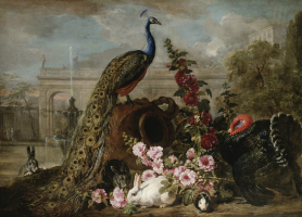 Де Конинк Дэвид. Пейзаж с павлинами, кроликами и индюком