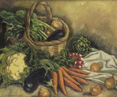 Зинаида Евгеньевна Серебрякова. Натюрморт с цветной капустой и овощами