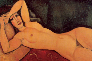 Amedeo Modigliani. Reclining Nude with left hand on forehead