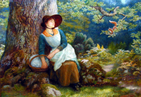 Arthur Hughes. Sleeping in the woods