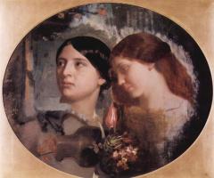 Чарльз Глир. Портрет двух женщин в овале
