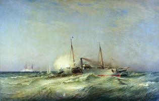 Alexey Petrovich Bogolyubov. Battle of the Vesta with the Turkish battleship Fethi-Butland in the Black Sea on July 11, 1877