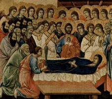 Дуччо ди Буонинсенья. Маэста, алтарь сиенского кафедрального собора, передняя сторона, Алтарь со сценами Успение Марии