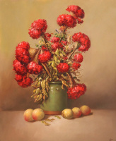 Saveliy Kamsky. Red bouquet in a green vase