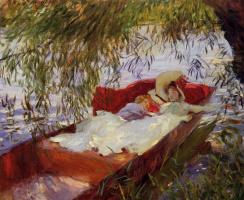 Джон Сингер Сарджент. Две женщины спят в лодке под ивами