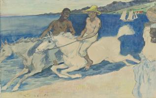 Шарль Лаваль. Два гонщика на пляже, 1888,